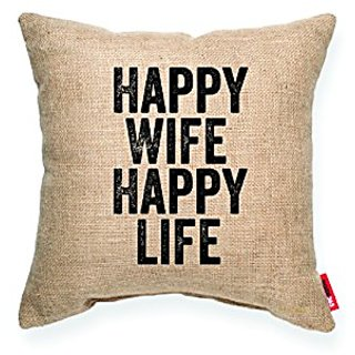 POSH 365 Happy Wife Happy Life Decorative Cushion Throw Pillow, 8