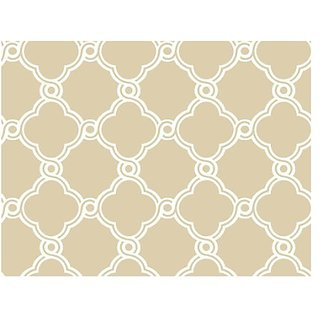 York Wallcoverings AP7486 Silhouettes Fretwork Trellis Wallpaper, Beige/White