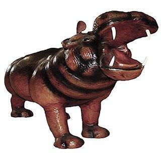 Gurman LA LA-1341 1821IN Leather Hippo Standing Figurine, 21-Inch, Dark Brown