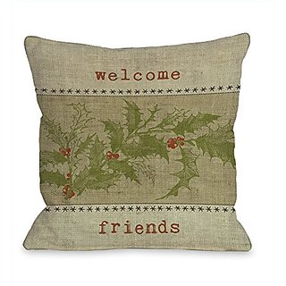 Bentin Home Decor Welcome Friends Holly Throw Pillow by Kate Ward Thacker, 18