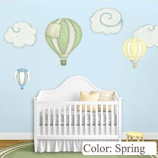 Hot Air Balloon Decals & Cloud Wall Stickers for Baby Room Nursery (Spring)