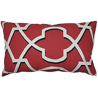 JinStyles Cotton Canvas Geo Accent Decorative Throw Pillow Cover (Red & White, Rectangular, 1 Cover for 12 x 20 Inserts)