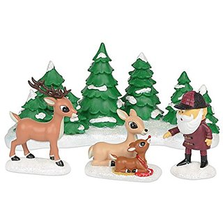 Department 56 Rudolph Meeting Santa Figurine, 4.25-Inch, Set of 4