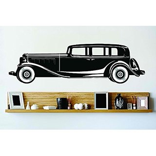 Design with Vinyl Cryst 144 163 Black Old Fashion Hotrod Limo Street Car Vinyl Wall Decal Art Home Decor Bedroom Living