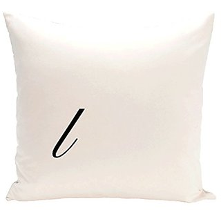 E By Design PMSR12BK4-16 Monogram Print Pillow, 16