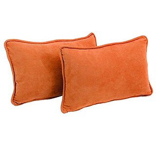 Blazing Needles Double-Corded Solid Microsuede Rectangular Throw Pillows with Inserts, 20-Inch by 12-Inch, Tangerine Dre