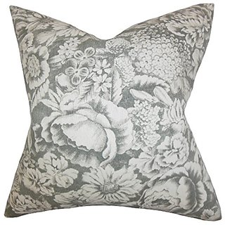 The Pillow Collection P20-PT-ENNISMORE-STERLING-L100 Elspeth Floral Pillow, Gray, 20