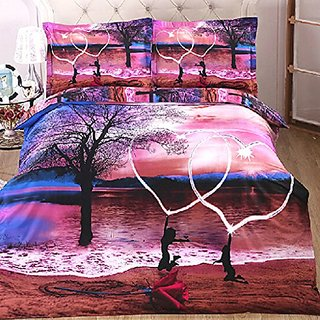 Zmart Cotton Collection Bedding Set 4 Printing Quilt Duvet Cover Bed Linens with 3 Matching Pillow Cases Purple