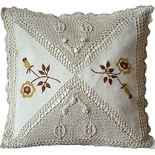 HomeClassic Handmade Sitck-Needle Embroidery Vintage Cotton Cloth Decorative Pillow Cover/Throw Pillow Cover/Pillowcase/