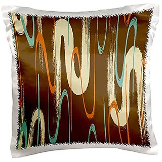 3dRose pc_222481_1 Contemporary Orange Brown Cream Color Aqua Abstract Swirls Pillow Case, 16
