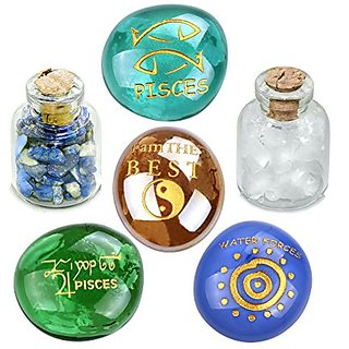 Ancient Zodiac Pisces Yin Yang Powers Birthstones Lapis Lazuli Quartz Magical Glass Stones Bottles Set