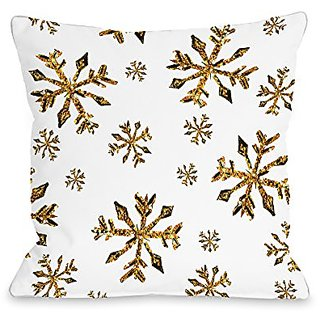 Bentin Home Decor Golden Snowflake Pattern Throw Pillow by Timree Gold, 18