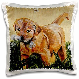 3dRose pc_44377_1 Golden Retriever Puppy Playing with Fluffy Dandelions-Pillow Case, 16 by 16
