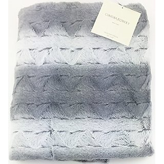 Cynthia Rowley Decorative Faux Fur Throw Blanket Silver Grey