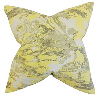 The Pillow Collection P20-PP-BIRMINGHAM-LEMON-C100 Folami Toile Pillow, Yellow, 20