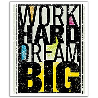 JP London POS2430 uStrip Peel and Stick Removable Wall Decal Sticker Mural Work Hard Dream Big Inspirational Quote, 19.7