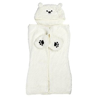 Silver One Cozy Critters Kids Polar Bear Hooded Sherpa Throw