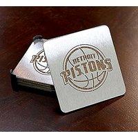 NBA Detroit Pistons Boasters, Heavy Duty Stainless Steel Coasters, Set Of 4