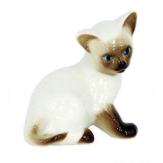 Lomonosov Porcelain Collectible Figurine Sculpture Siamese Kitten Kitty with Blue Eyes