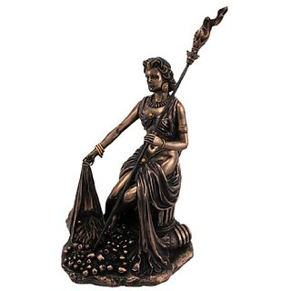 Sitting Demeter with Scepter Grecian Goddess Resin Statue Figurine