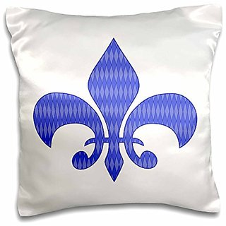 3dRose Vintage Fleur De Lis Filled with Blue Diamond Shaped Pattern-Pillow Case, 16 by 16