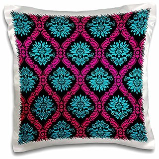3dRose Hot Pink and Aqua Blue black Ornate Damask-Pillow Case, 16 by 16