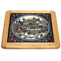 Jerusalem City Walls And Old City View Armenian Ceramic Hot Plate Coaster - Large (6 Inches Or 15cm In Diameter)