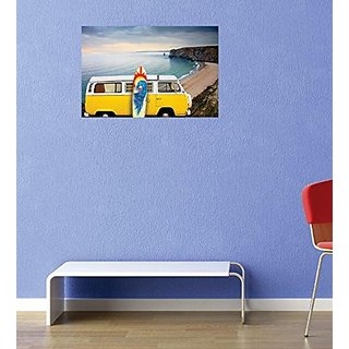Design with Vinyl 2 Pro 21 Decor Item Van and Surf Board Peace Tide Ocean View Wall Decal Peel and Stick Sticker Mural,