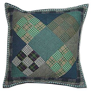 Patch Magic Chambray Nine Patch Toss Pillow, 16-Inch by 16-Inch