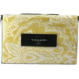 Tahari Luxury Vintage Ethnic Print Duvet Quilt Cover 3 Piece Bedding Set 300 thread Count Cotton Sateen Yellow Ivory Whi
