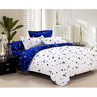 Zhiyuan Stars and Moon Printed Brushed Microfiber Flat Sheet Duvet Cover Pillowcases 4pcs Set,White & Blue,Queen