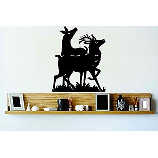 Design with Vinyl Cryst 118 75 Black Deer Couple Hunting Animal Outdoor Scene Vinyl Wall Decal Art Home Decor Bedroom Li