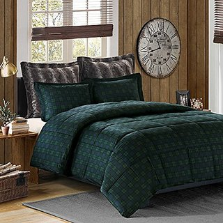 Cozy Soft green plaid king cal comforter set 5 pieces