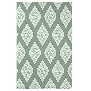 E by Design Tail Feathers Geometric Print Throw Blankets, 50 X 60-Inch, Herb Green