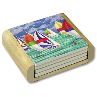 CounterArt Sailboats Absorbent Coasters in Wooden Holder, Set of 4