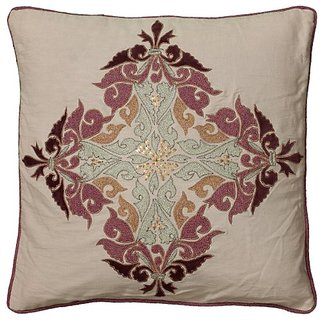 Rizzy Home T05763 Applique Embroidery and Cording Decorative Pillow, 20 by 20-Inch, Beige