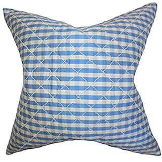 The Pillow Collection P20-ART-PLAIDQUILTEDSILK-BLUE Addisyn Plaid Pillow, Blue, 20