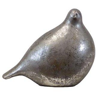 Plutus Brands Modern & Distinctive Ceramic Bird in Silver Leaf Finish, Small