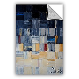 ArtWall Shiela Gosselins Grey Squares Art Appeelz Removable Wall Art Graphic, 12 by 18