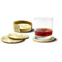 Lucrin - Set Of 6 Round Real Leather Coasters With Coaster Holder - Golden - Metallic Leather