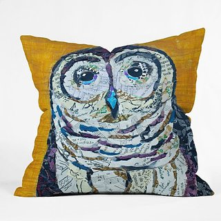 DENY Designs Elizabeth St Hilaire Nelson Hoot 2 Throw Pillow, 16-Inch by 16-Inch