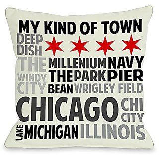 Bentin Home Decor Chicago Illinois Subway Style Words Pillow with Zipper, 14 by 20-Inch, Ivory/Gray