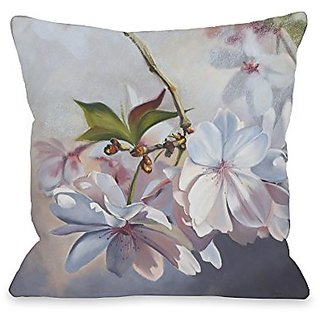 Bentin Home Decor Cherry Blossom Throw Pillow w/Zipper by Graviss Studios, 18