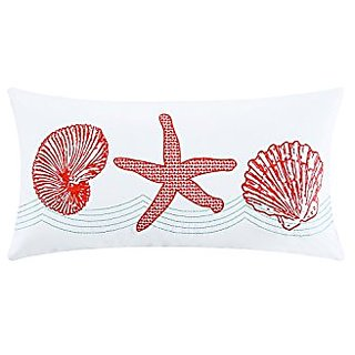 Cora Embroidered Pillow, Coral/White