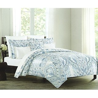 Tahari Home Blue Paisley Large Scale Floral Full Queen 3pc Duvet Cover Set Madina Medallion Porcelain Blue Turquoise Gra