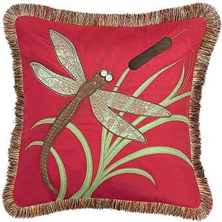 Rightside Design In the Garden Collection Dragonfly and Cattails Indoor Applique Pillow, Tomato Red