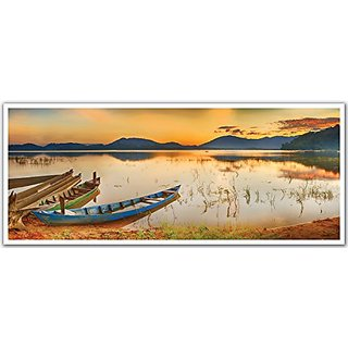 JP London PAN5004 uStrip Oriental Fishing Boats Sunset Lake High Resolution Peel Stick Removable Wallpaper Sticker Mural
