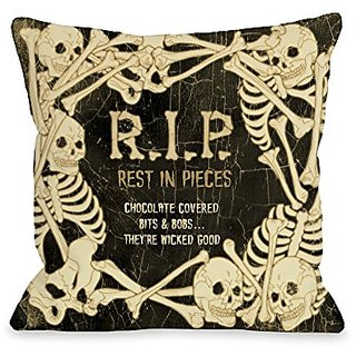 Bentin Home Decor RIP Skeleton Border Throw Pillow w/Zipper by Kate Ward Thacker, 14