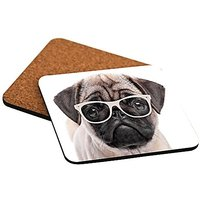 Rikki Knight Hipster Pug Dog Puppy With Glasses Design Cork Backed Hard Square Beer Coasters, 4-Inch, Brown, 2-Pack