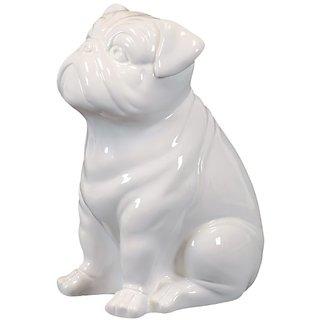 Urban Trends 46640-UT Decorative Ceramic Sitting Dog, White
